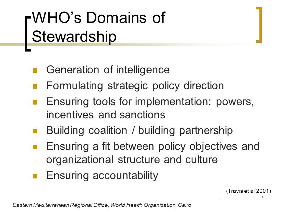 Eastern Mediterranean Regional Office, World Health Organization, Cairo 4 WHOs Domains of Stewardship Generation of intelligence Formulating strategic