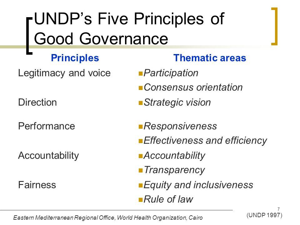 Eastern Mediterranean Regional Office, World Health Organization, Cairo 7 UNDPs Five Principles of Good Governance PrinciplesThematic areas Legitimacy