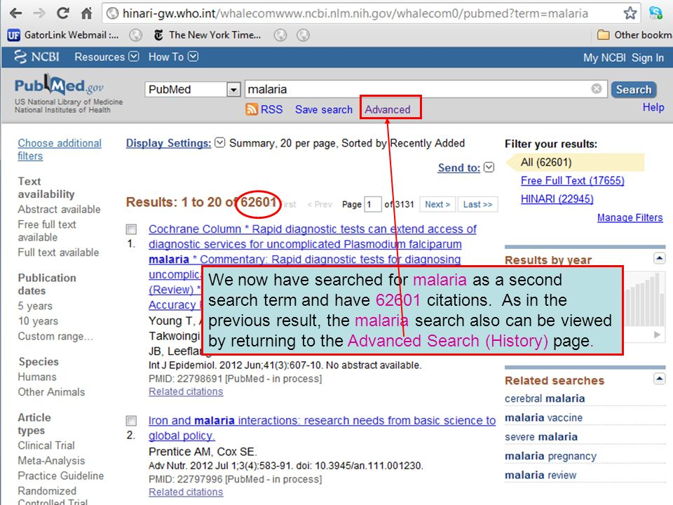 We now have searched for malaria as a second search term and have citations.