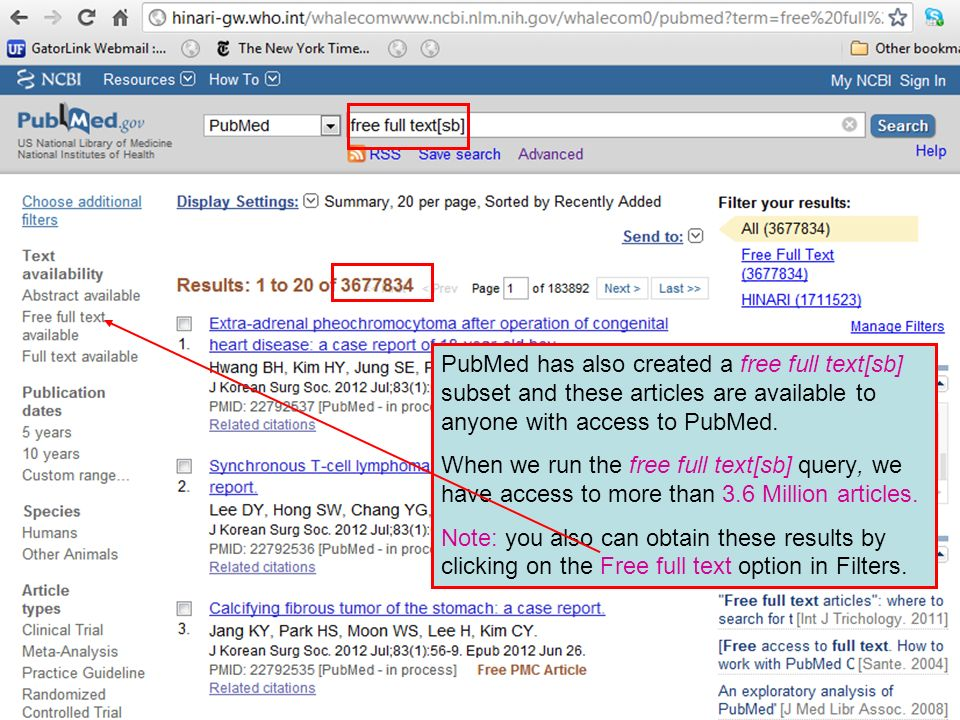 PubMed has also created a free full text[sb] subset and these articles are available to anyone with access to PubMed.