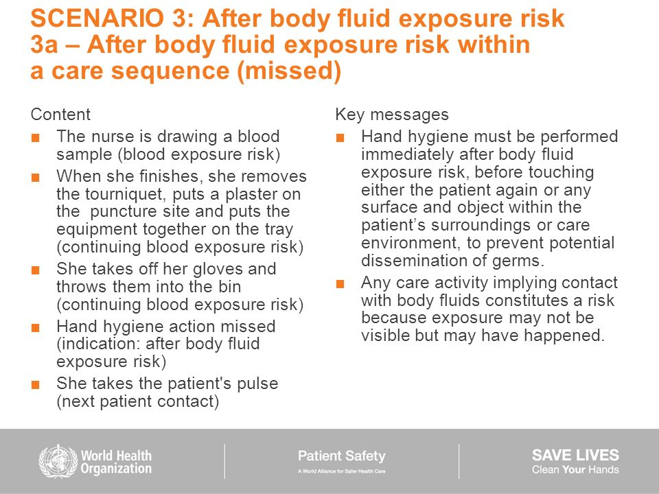 SCENARIO 3: After body fluid exposure risk 3a – After body fluid exposure risk within a care sequence (missed) Content The nurse is drawing a blood sa