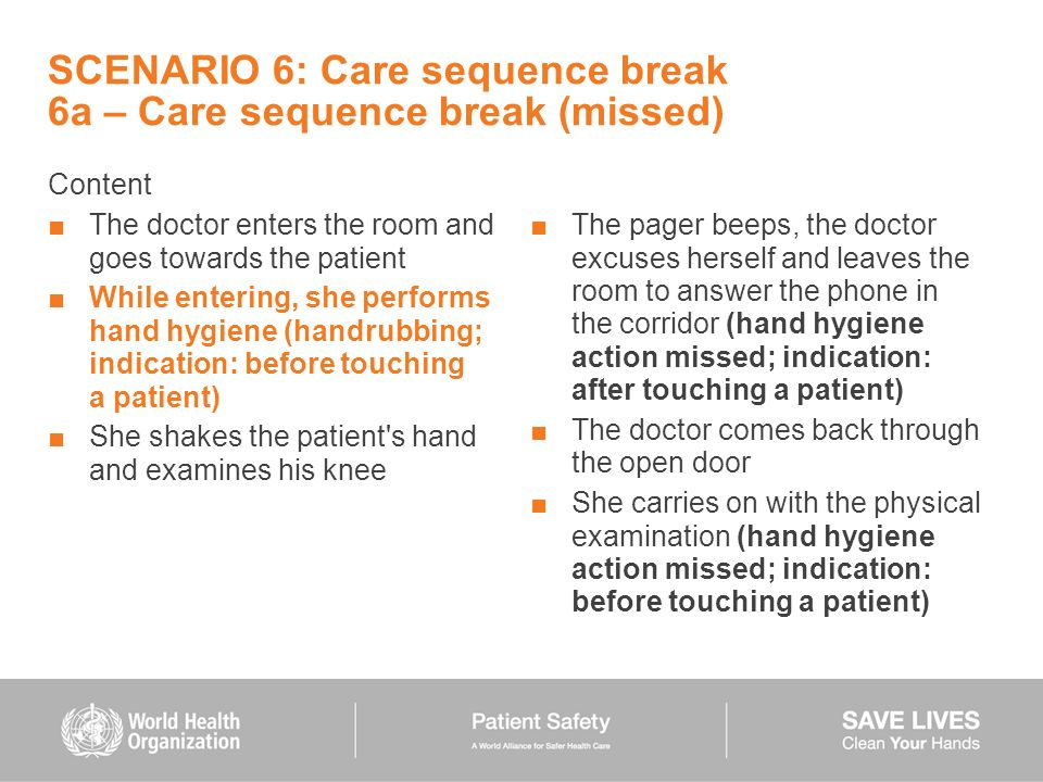 SCENARIO 6: Care sequence break 6a – Care sequence break (missed) Content The doctor enters the room and goes towards the patient While entering, she