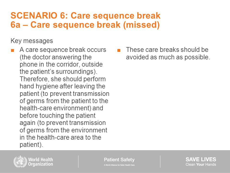 SCENARIO 6: Care sequence break 6a – Care sequence break (missed) Key messages A care sequence break occurs (the doctor answering the phone in the cor