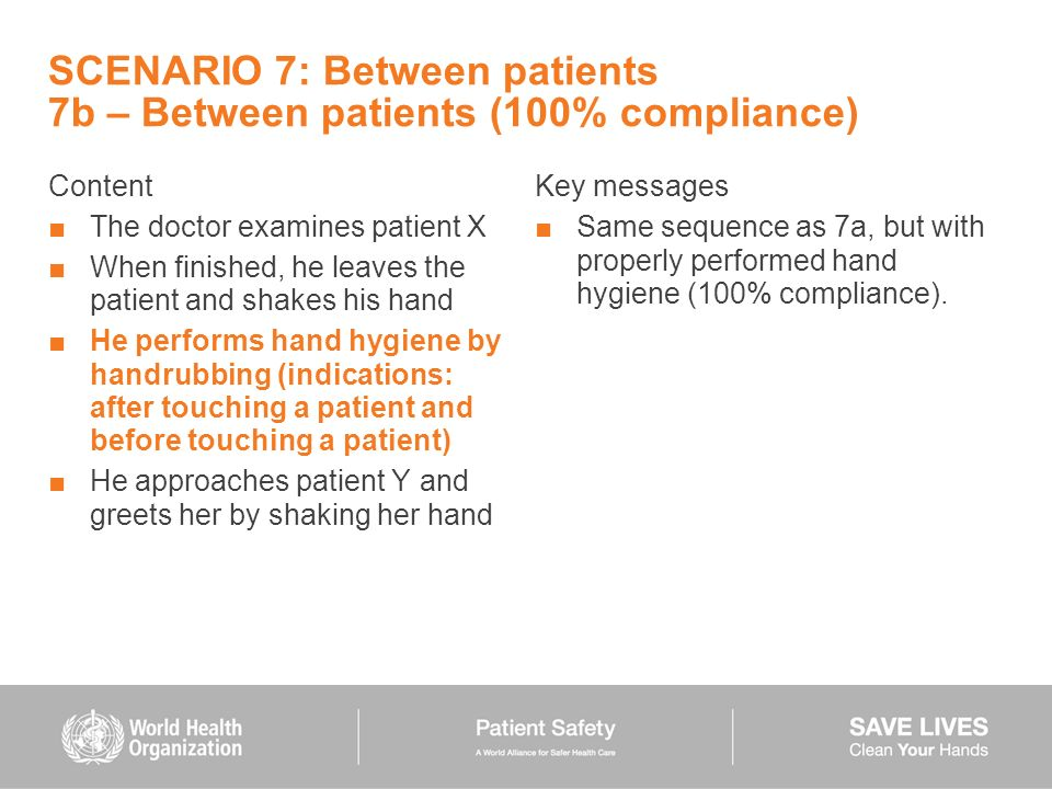 SCENARIO 7: Between patients 7b – Between patients (100% compliance) Content The doctor examines patient X When finished, he leaves the patient and sh
