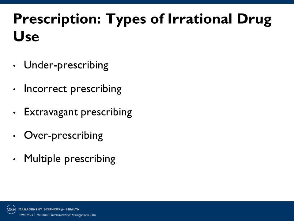 Prescription: Types of Irrational Drug Use Under-prescribing Incorrect prescribing Extravagant prescribing Over-prescribing Multiple prescribing