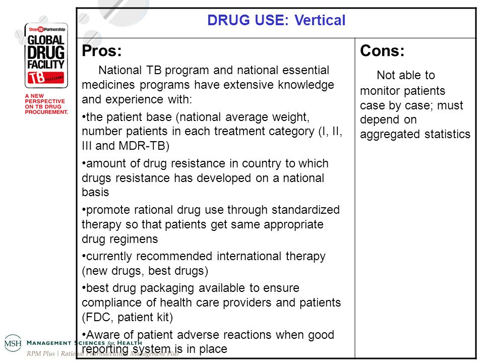 DRUG USE: Vertical Pros: National TB program and national essential medicines programs have extensive knowledge and experience with: the patient base