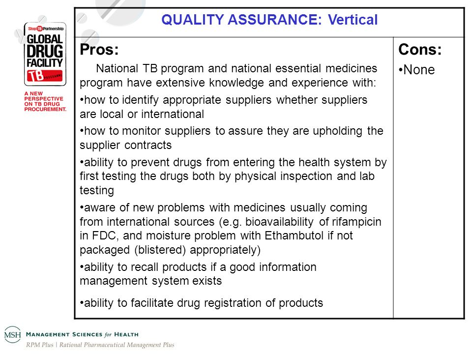 QUALITY ASSURANCE: Vertical Pros: National TB program and national essential medicines program have extensive knowledge and experience with: how to id