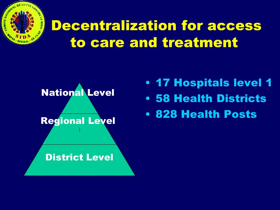 Decentralization for access to care and treatment 17 Hospitals level 1 58 Health Districts 828 Health Posts National Level Regional Level ) District Level