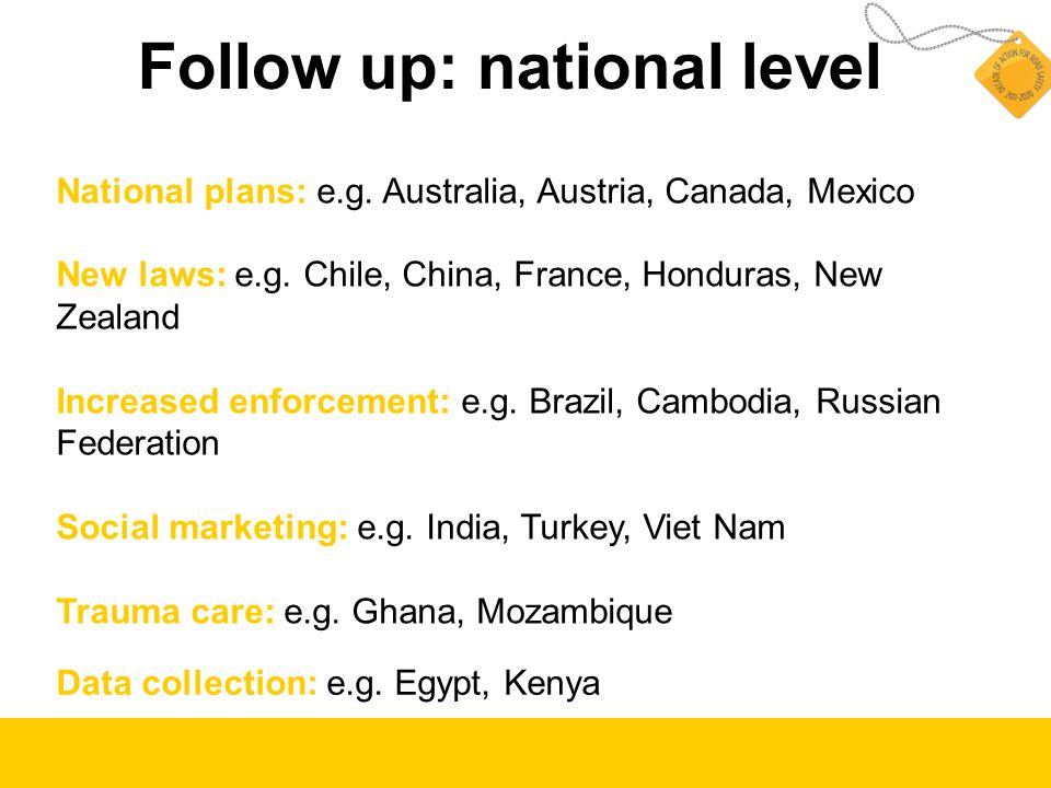 Follow up: national level National plans: e.g. Australia, Austria, Canada, Mexico New laws: e.g. Chile, China, France, Honduras, New Zealand Increased