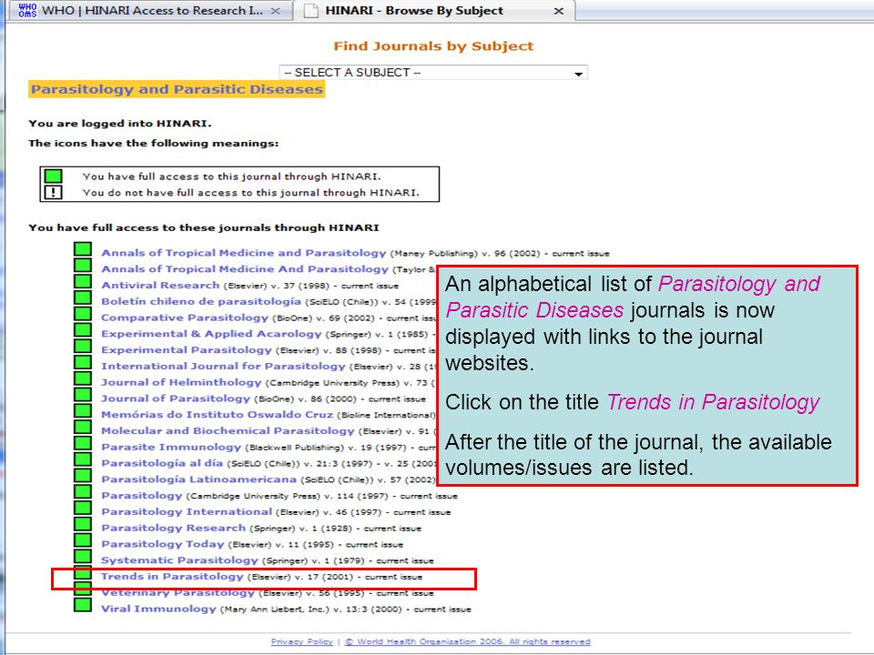 Accessing journals by subject 4 An alphabetical list of Parasitology and Parasitic Diseases journals is now displayed with links to the journal websit