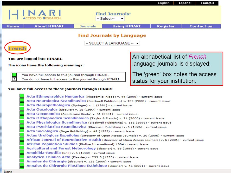 Accessing journals by Language continued An alphabetical list of French language journals is displayed. The green box notes the access status for your