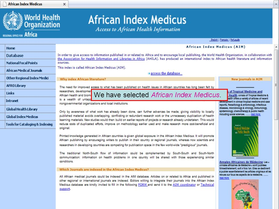African Index Medicus We have selected African Index Medicus.