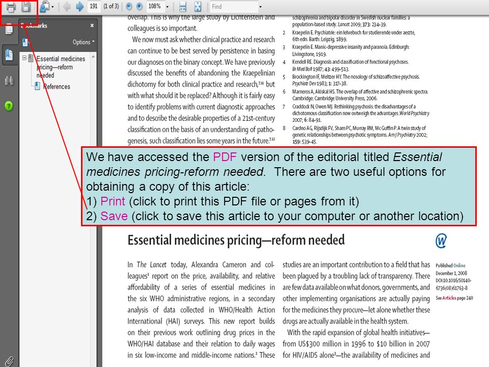 We have accessed the PDF version of the editorial titled Essential medicines pricing-reform needed. There are two useful options for obtaining a copy
