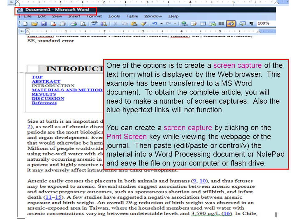 One of the options is to create a screen capture of the text from what is displayed by the Web browser. This example has been transferred to a MS Word
