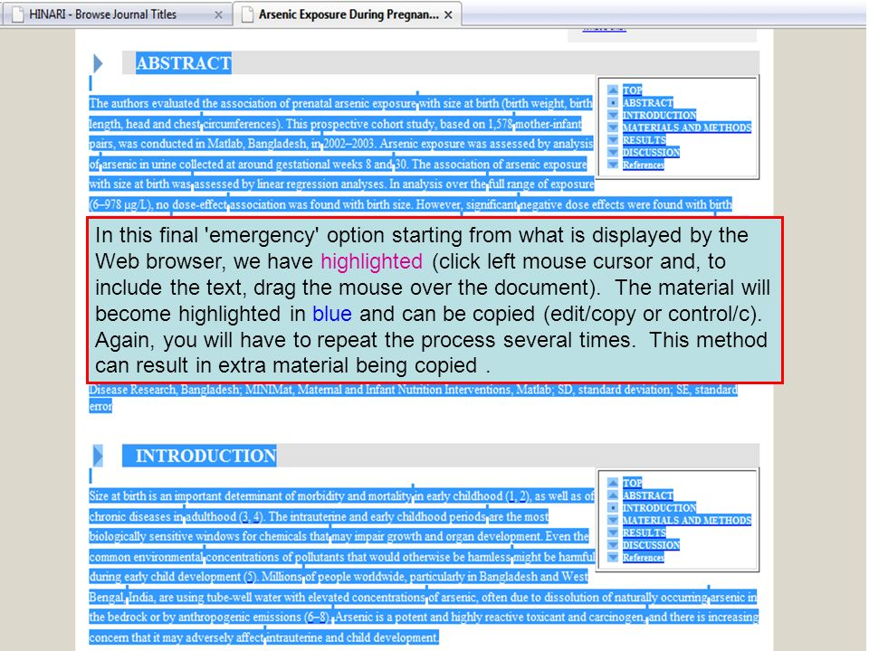 In this final 'emergency' option starting from what is displayed by the Web browser, we have highlighted (click left mouse cursor and, to include the