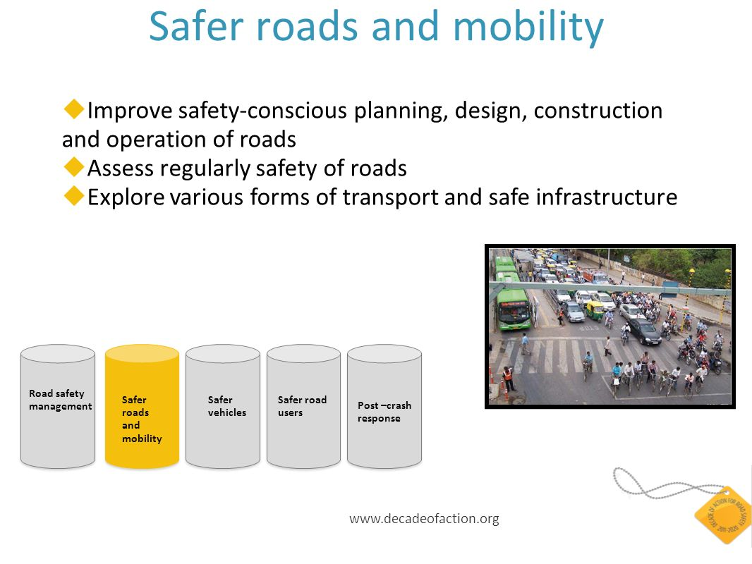 www.decadeofaction.org Safer roads and mobility Improve safety-conscious planning, design, construction and operation of roads Assess regularly safety of roads Explore various forms of transport and safe infrastructure Road safety management Safer roads and mobility Safer vehicles Safer road users Post –crash response