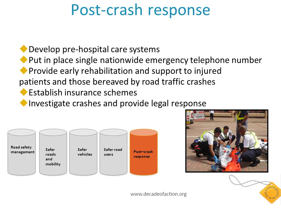 www.decadeofaction.org Post-crash response Develop pre-hospital care systems Put in place single nationwide emergency telephone number Provide early r
