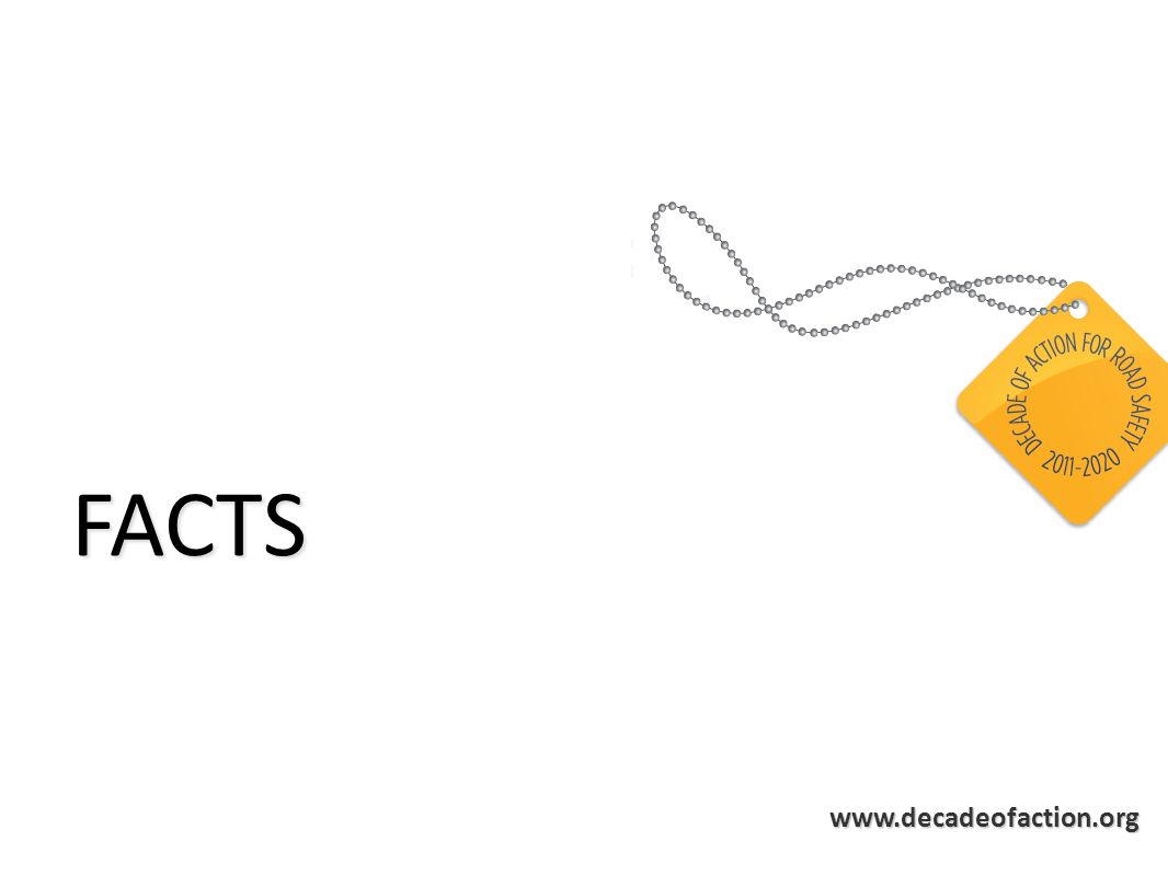 www.decadeofaction.org Key facts 1 2 3 Road traffic WHO 2004 1.3 Malaria WHO 2008 <1 Tuberculosis WHO 2008 1.8 AIDS-related deaths UNAIDS 2008 Number of deaths (millions) 1.3 Nearly 1.3 million deaths Nearly 1.3 million deaths 20-50 million injured 20-50 million injured