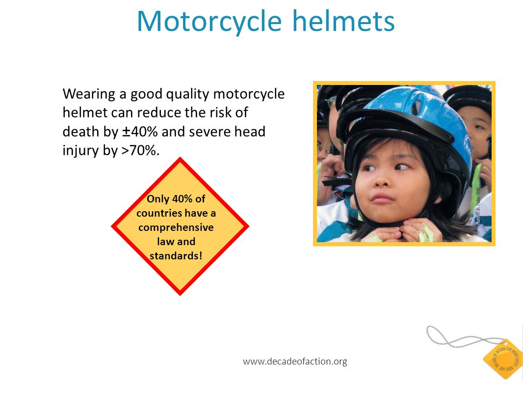 Motorcycle helmets Wearing a good quality motorcycle helmet can reduce the risk of death by ± 40% and severe head injury by >70%.