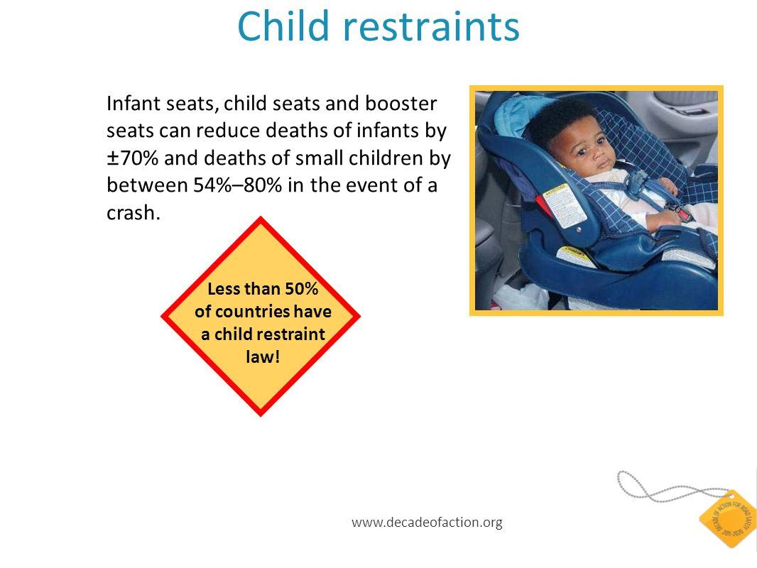 www.decadeofaction.org Child restraints Infant seats, child seats and booster seats can reduce deaths of infants by ±70% and deaths of small children by between 54%–80% in the event of a crash.