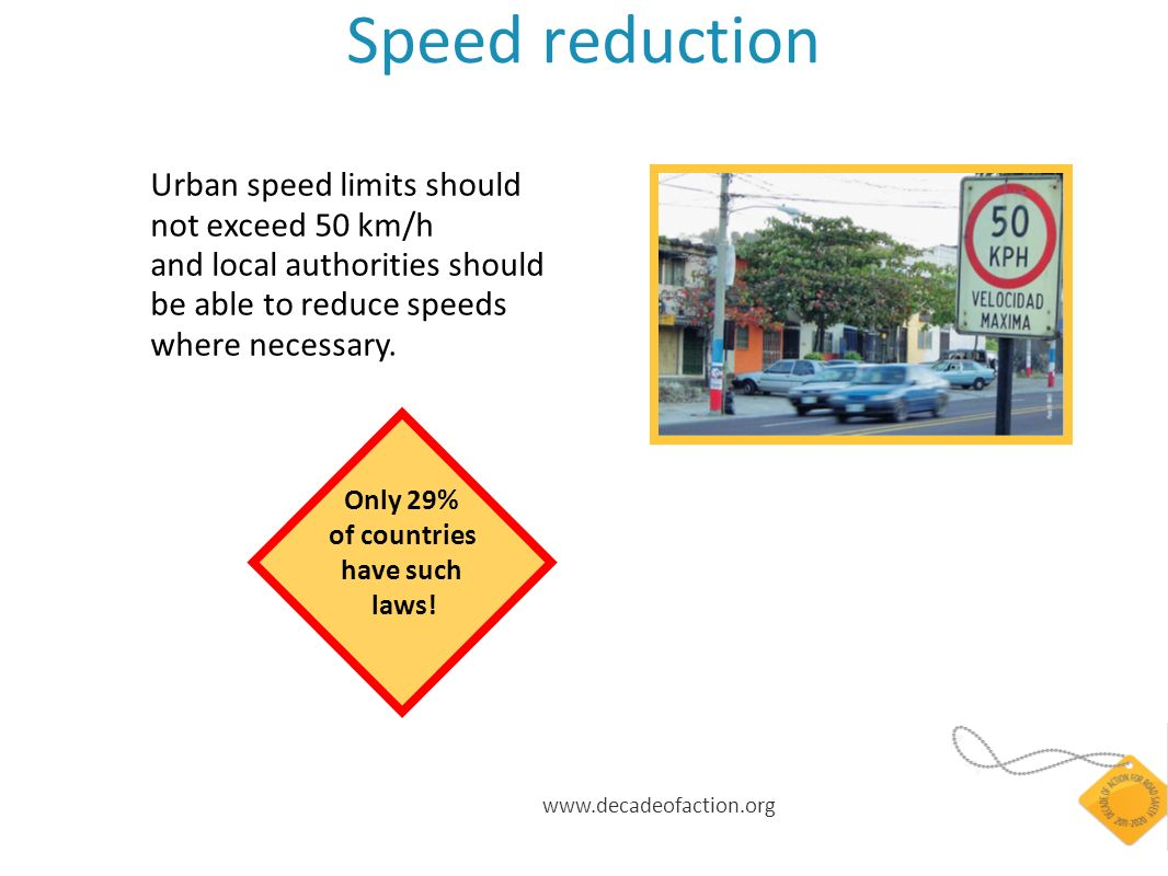 Speed reduction Urban speed limits should not exceed 50 km/h and local authorities should be able to reduce speeds where necessary.