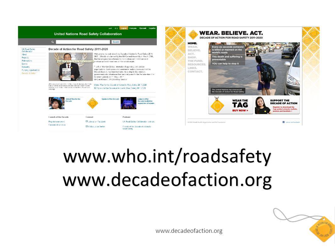 www.decadeofaction.org www.who.int/roadsafety www.decadeofaction.org