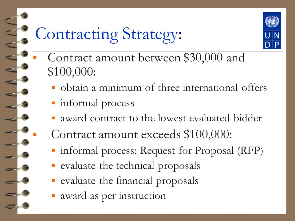 Contracting Strategy: Contract amount between $30,000 and $100,000: obtain a minimum of three international offers informal process award contract to the lowest evaluated bidder Contract amount exceeds $100,000: informal process: Request for Proposal (RFP) evaluate the technical proposals evaluate the financial proposals award as per instruction