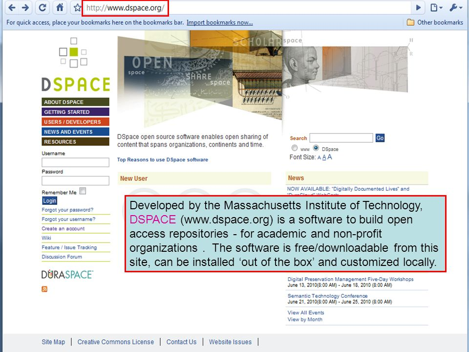 Developed by the Massachusetts Institute of Technology, DSPACE (www.dspace.org) is a software to build open access repositories - for academic and non