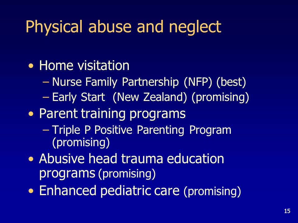 15 Physical abuse and neglect Home visitation –Nurse Family Partnership (NFP) (best) –Early Start (New Zealand) (promising) Parent training programs –Triple P Positive Parenting Program (promising) Abusive head trauma education programs (promising) Enhanced pediatric care (promising)