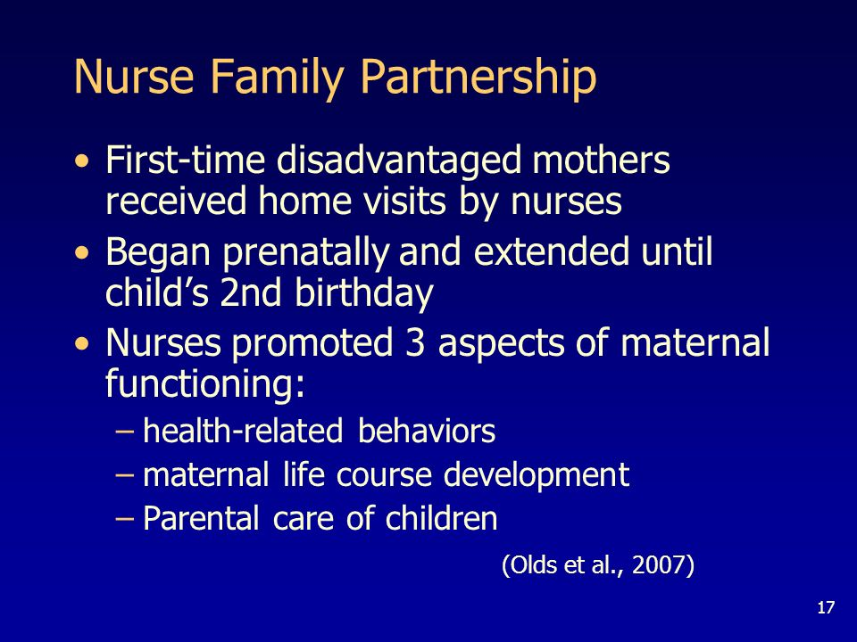 17 Nurse Family Partnership First-time disadvantaged mothers received home visits by nurses Began prenatally and extended until childs 2nd birthday Nurses promoted 3 aspects of maternal functioning: –health-related behaviors –maternal life course development –Parental care of children (Olds et al., 2007)