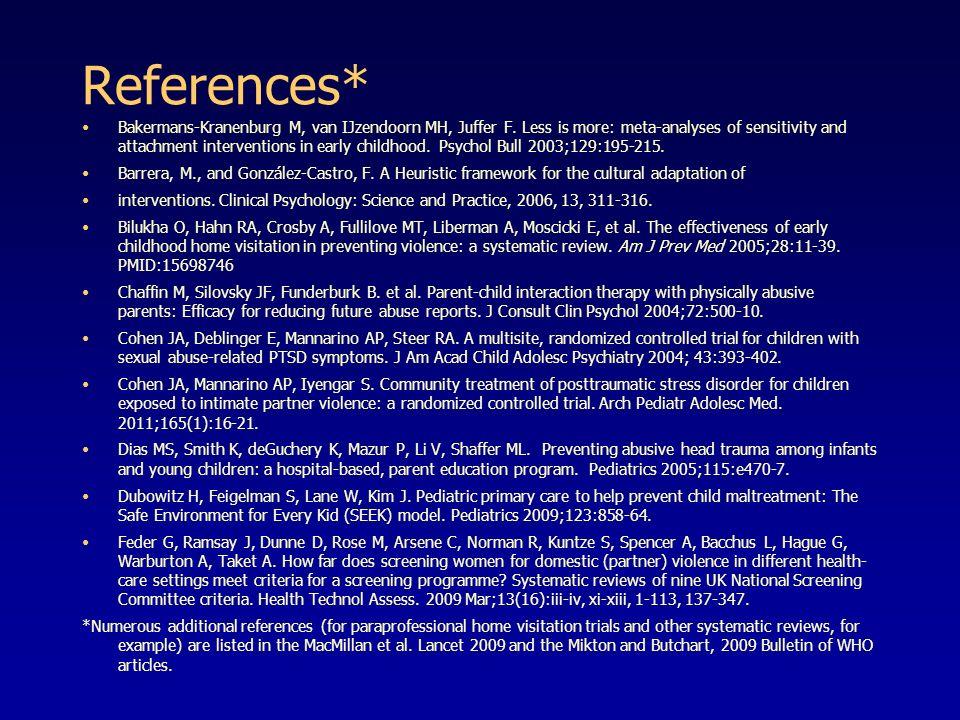 References* Bakermans-Kranenburg M, van IJzendoorn MH, Juffer F.