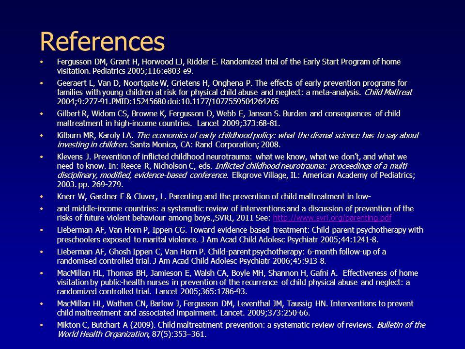 References Fergusson DM, Grant H, Horwood LJ, Ridder E.