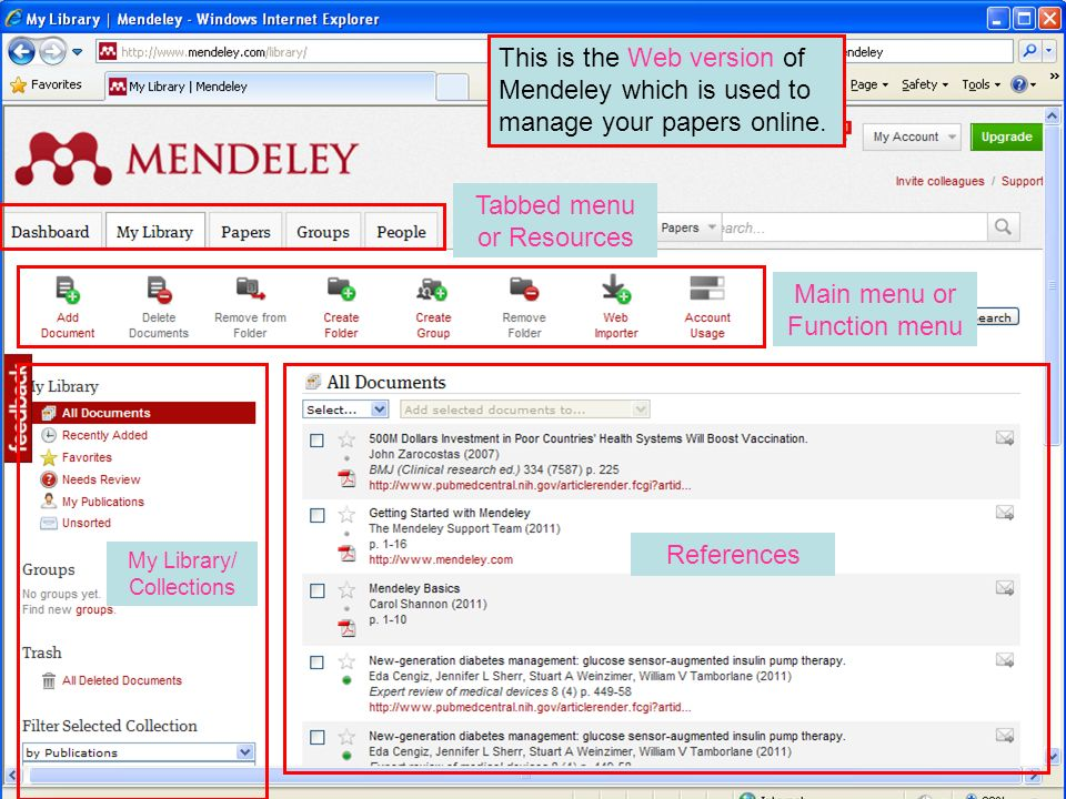 This is the Web version of Mendeley which is used to manage your papers online. My Library/ Collections References Tabbed menu or Resources Main menu