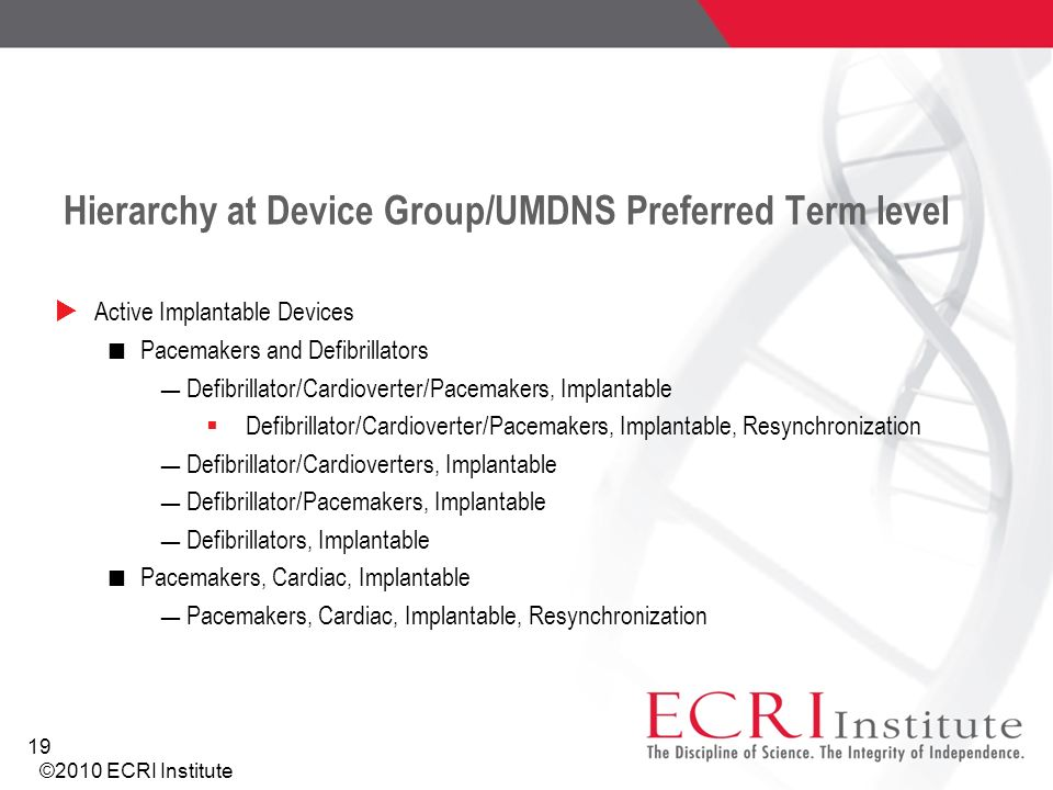 Hierarchy at Device Group/UMDNS Preferred Term level Active Implantable Devices Pacemakers and Defibrillators Defibrillator/Cardioverter/Pacemakers, I