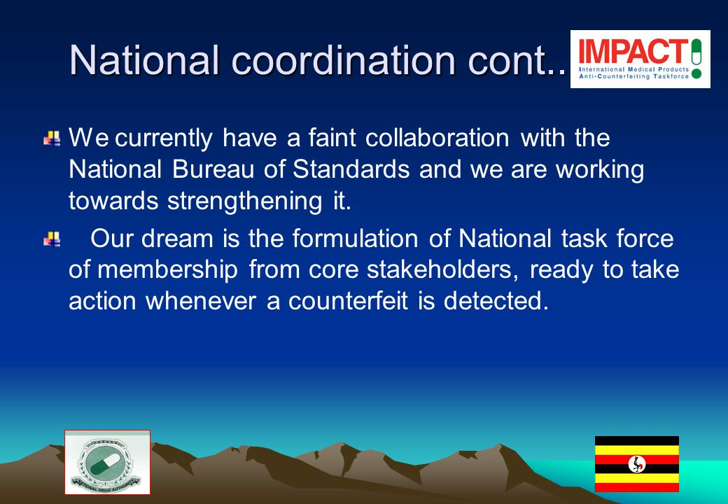 National coordination cont..