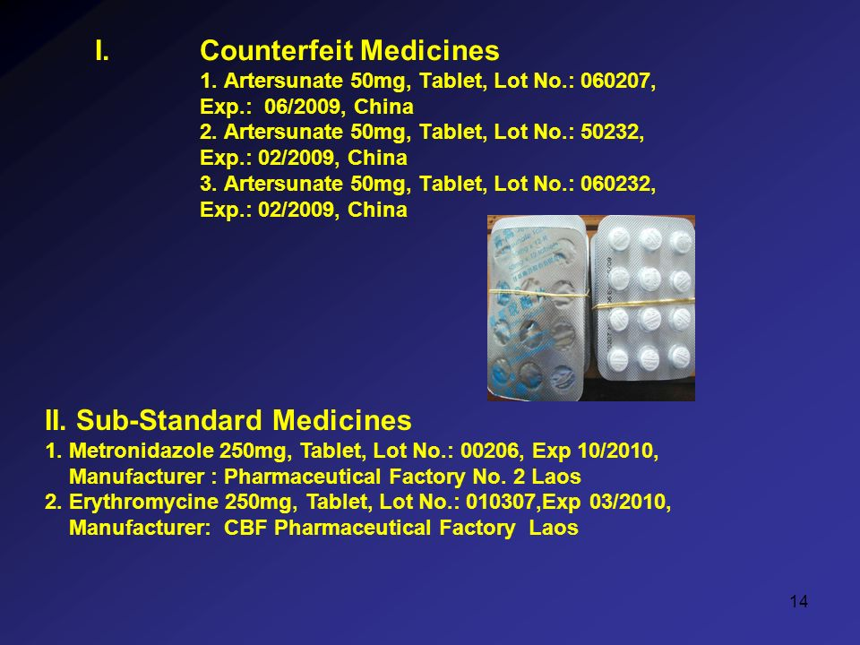 14 I.Counterfeit Medicines 1. Artersunate 50mg, Tablet, Lot No.: , Exp.: 06/2009, China 2.
