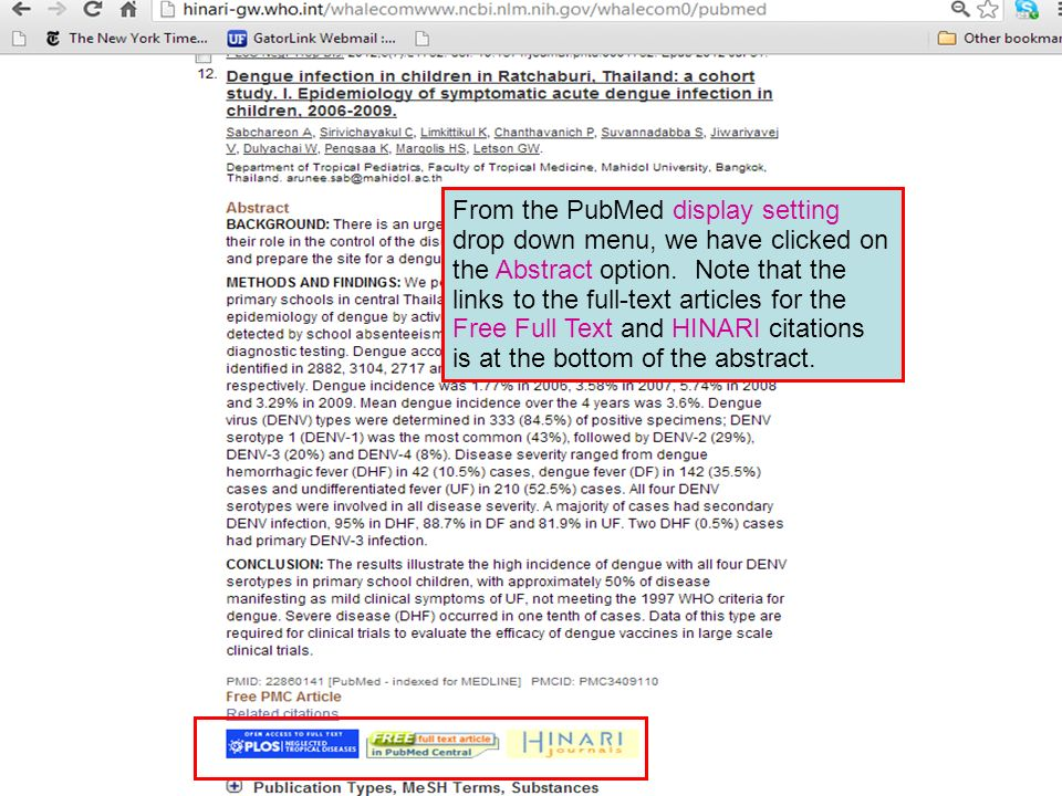 From the PubMed display setting drop down menu, we have clicked on the Abstract option. Note that the links to the full-text articles for the Free Ful