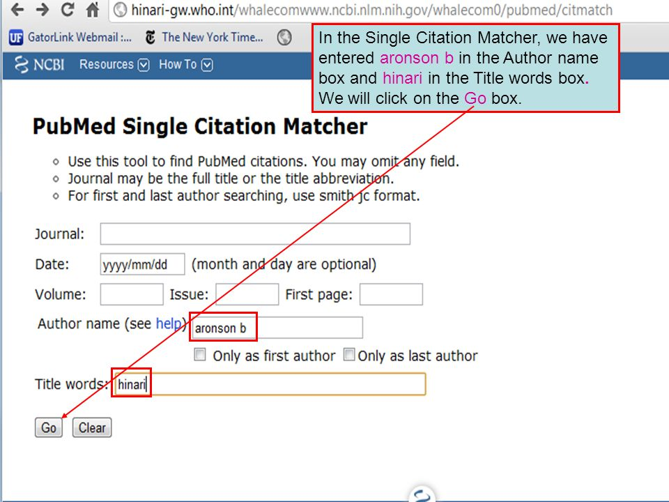 In the Single Citation Matcher, we have entered aronson b in the Author name box and hinari in the Title words box.