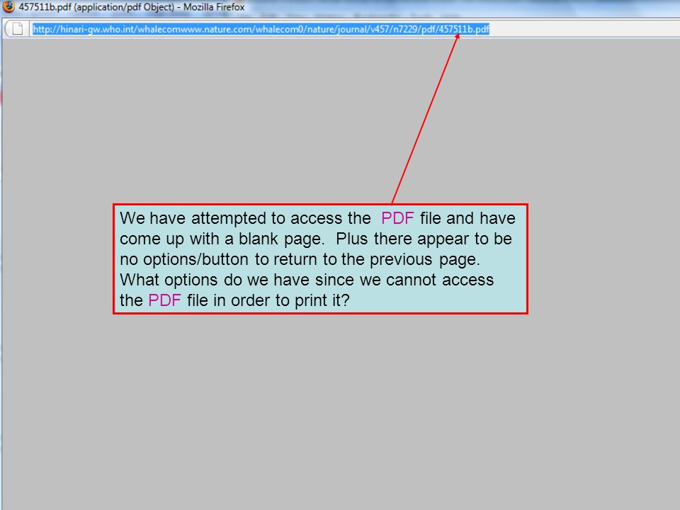 ` We have attempted to access the PDF file and have come up with a blank page. Plus there appear to be no options/button to return to the previous pag