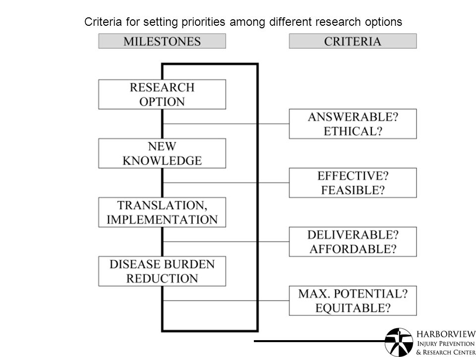 Criteria for setting priorities among different research options