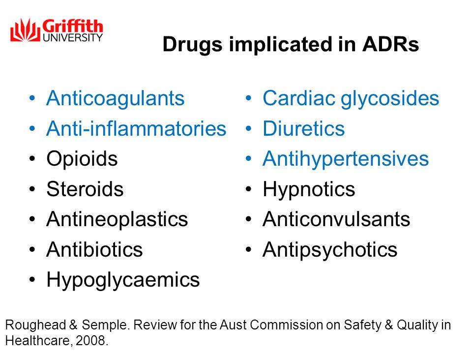 Drugs implicated in ADRs Anticoagulants Anti-inflammatories Opioids Steroids Antineoplastics Antibiotics Hypoglycaemics Cardiac glycosides Diuretics A