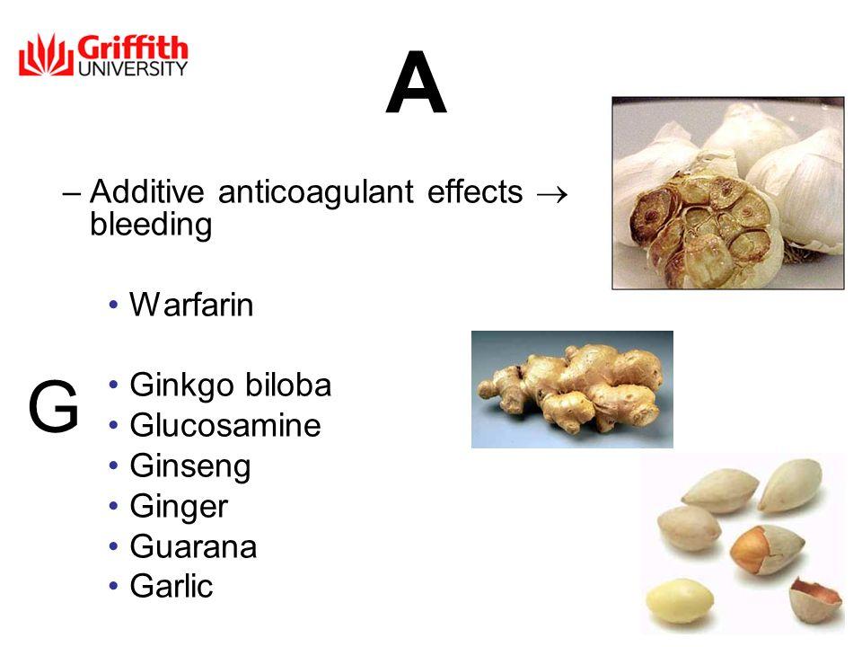 –Additive anticoagulant effects bleeding Warfarin Ginkgo biloba Glucosamine Ginseng Ginger Guarana Garlic G A