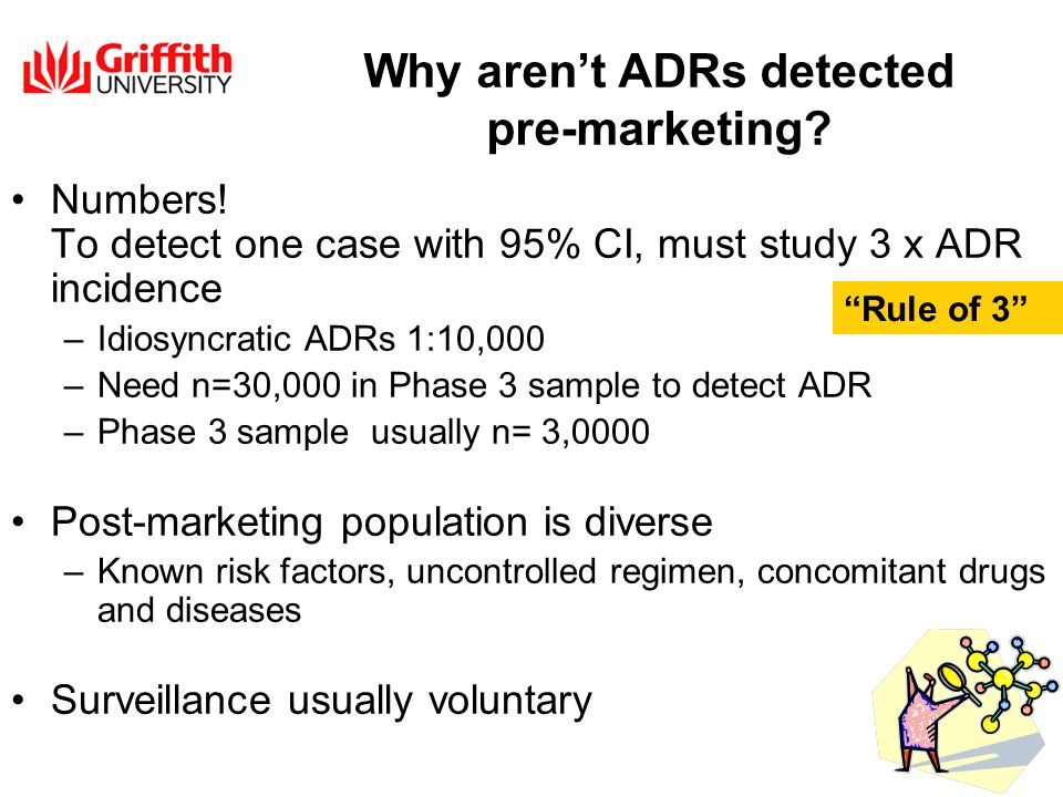 Why arent ADRs detected pre-marketing. Numbers.