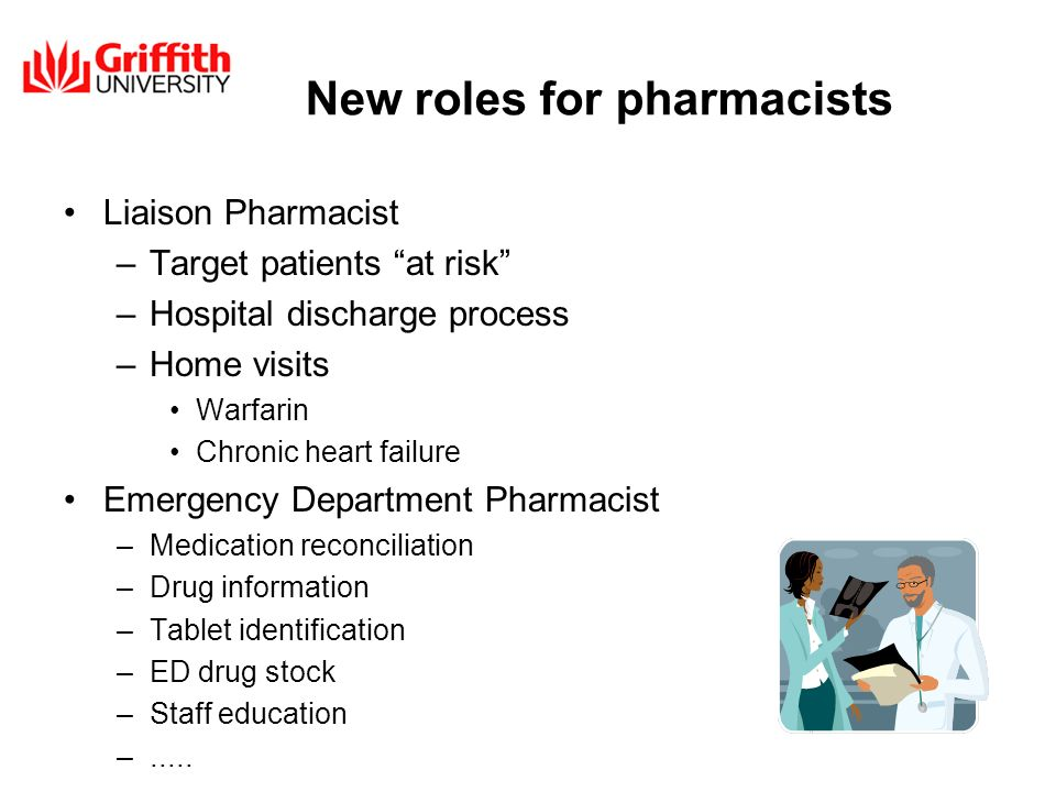 New roles for pharmacists Liaison Pharmacist –Target patients at risk –Hospital discharge process –Home visits Warfarin Chronic heart failure Emergenc