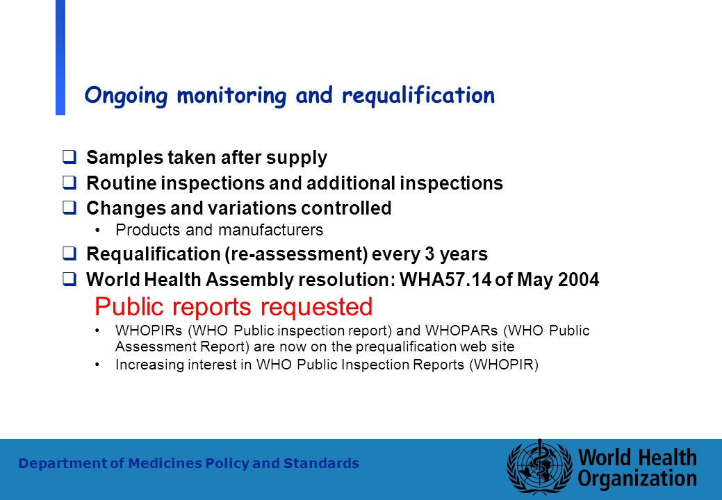 20 WHO - PSM Department of Medicines Policy and Standards Ongoing monitoring and requalification Samples taken after supply Routine inspections and ad