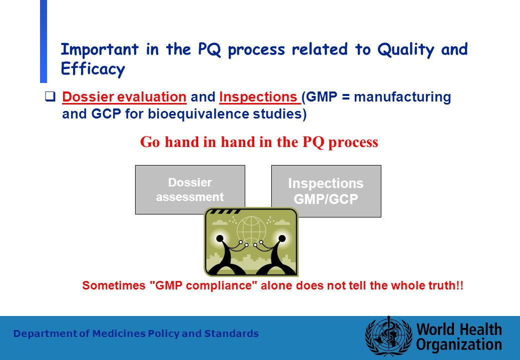 28 WHO - PSM Department of Medicines Policy and Standards Important in the PQ process related to Quality and Efficacy Dossier evaluation and Inspectio