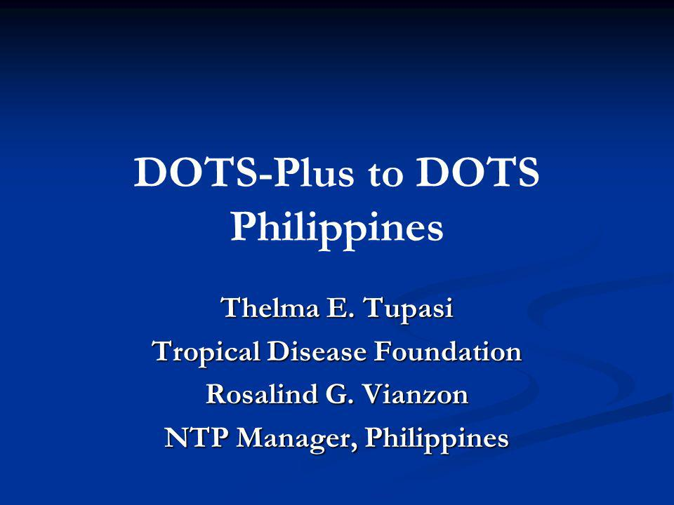 Reasons for embarking on DOTS-Plus: Outcome of DOTS DOTS Clinic at the MMC, Reasons for embarking on DOTS-Plus: Outcome of DOTS DOTS Clinic at the MMC, February 1999-January 2002 Outcome New cases (126) Previously treated (65) Cure83.3%53.8% Failure0.838.5 Died6.41.5 Lost7.11.5 MDR-TB2.441 Quelapio MID et al: MDR-TB a threat to TB Control, Cohort Analysis, MMC DOTS-CLinic