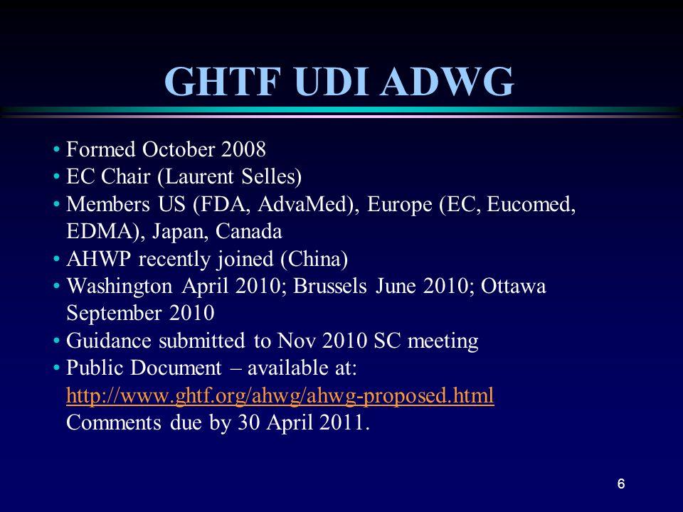 6 GHTF UDI ADWG Formed October 2008 EC Chair (Laurent Selles) Members US (FDA, AdvaMed), Europe (EC, Eucomed, EDMA), Japan, Canada AHWP recently joine