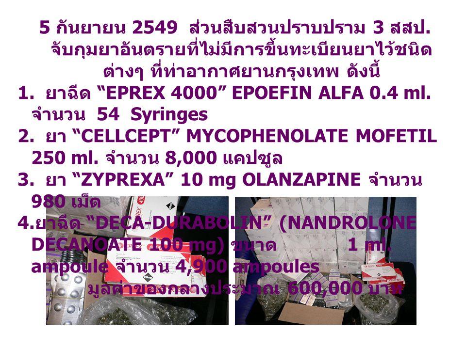 5 2549 3. 1. EPREX 4000 EPOEFIN ALFA 0.4 ml. 54 Syringes 2. CELLCEPT MYCOPHENOLATE MOFETIL 250 ml. 8,000 3. ZYPREXA 10 mg OLANZAPINE 980 4. DECA-DURAB