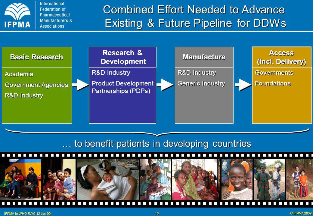 © IFPMA 2009 IFPMA to WHO EWG 12 Jan 09 16 R&D Industry Generic Industry Manufacture R&D Industry Product Development Partnerships (PDPs) Research & Development GovernmentsFoundations Access (incl.